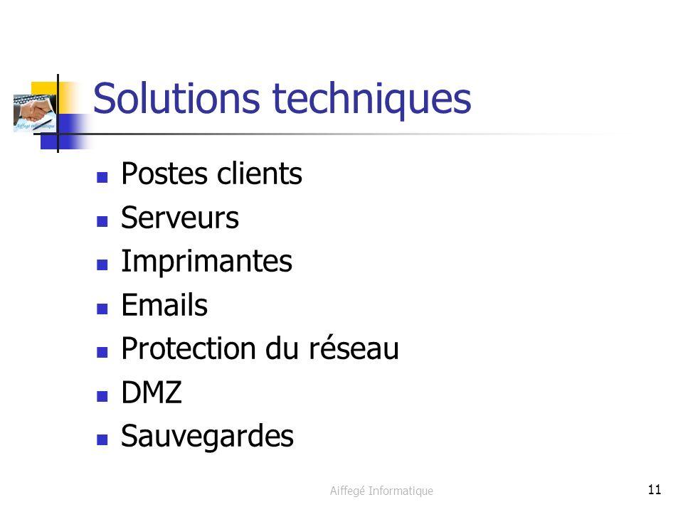 Aiffegé Informatique 11 Solutions techniques Postes clients Serveurs Imprimantes Emails Protection du réseau DMZ Sauvegardes