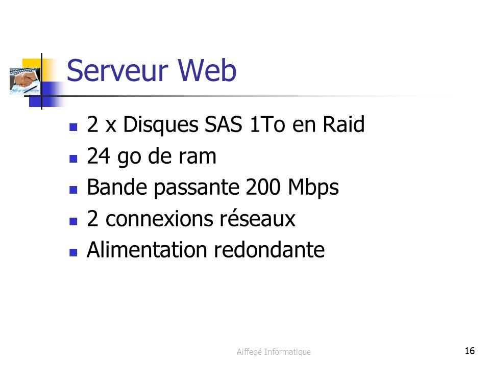 Aiffegé Informatique 16 Serveur Web 2 x Disques SAS 1To en Raid 24 go de ram Bande passante 200 Mbps 2 connexions réseaux Alimentation redondante