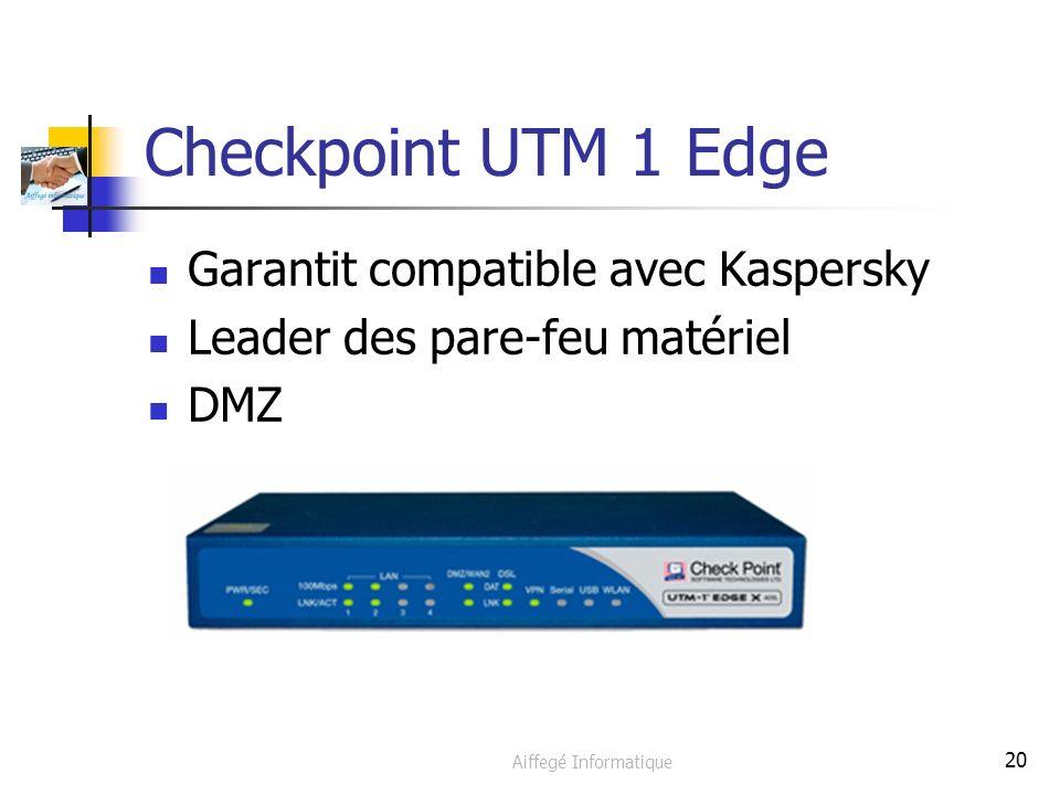 Aiffegé Informatique 20 Checkpoint UTM 1 Edge Garantit compatible avec Kaspersky Leader des pare-feu matériel DMZ
