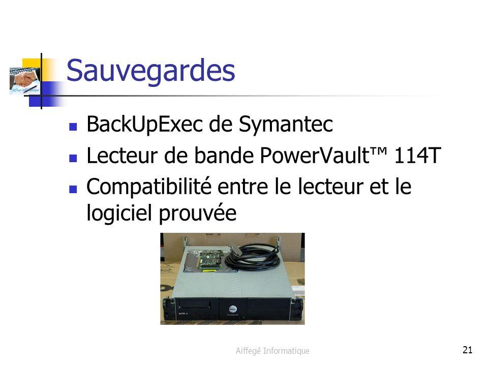 Aiffegé Informatique 21 Sauvegardes BackUpExec de Symantec Lecteur de bande PowerVault 114T Compatibilité entre le lecteur et le logiciel prouvée