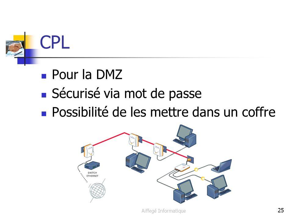 Aiffegé Informatique 25 CPL Pour la DMZ Sécurisé via mot de passe Possibilité de les mettre dans un coffre