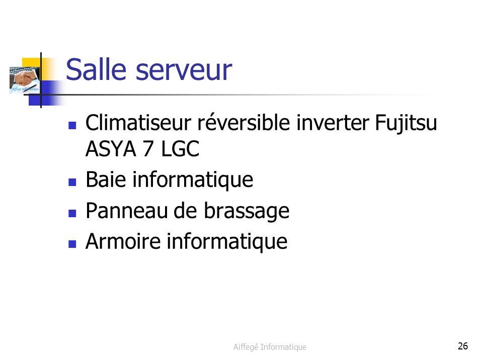 Aiffegé Informatique 26 Salle serveur Climatiseur réversible inverter Fujitsu ASYA 7 LGC Baie informatique Panneau de brassage Armoire informatique