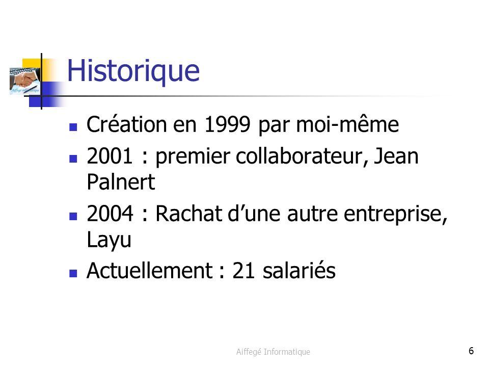 Aiffegé Informatique 6 Historique Création en 1999 par moi-même 2001 : premier collaborateur, Jean Palnert 2004 : Rachat dune autre entreprise, Layu Actuellement : 21 salariés