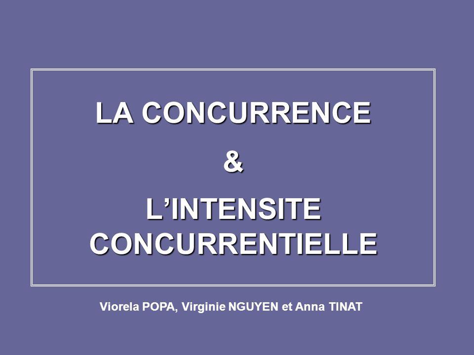 LA CONCURRENCE & LINTENSITE CONCURRENTIELLE Viorela POPA, Virginie NGUYEN et Anna TINAT