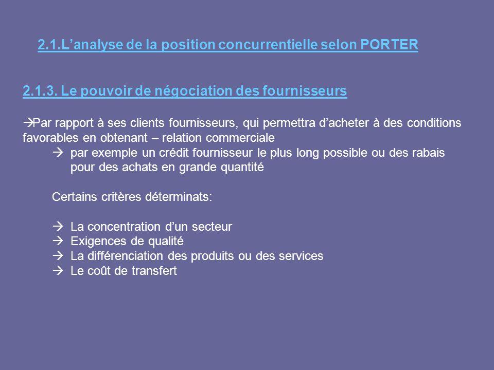 2.1.Lanalyse de la position concurrentielle selon PORTER 2.1.3. Le pouvoir de négociation des fournisseurs Par rapport à ses clients fournisseurs, qui