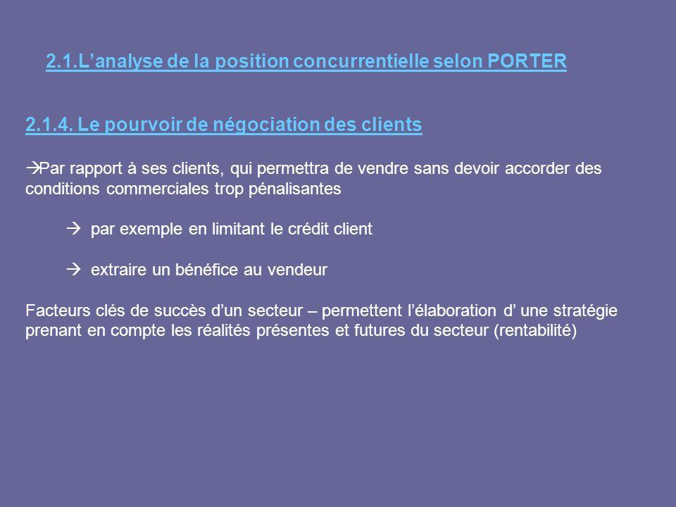 2.1.Lanalyse de la position concurrentielle selon PORTER 2.1.4. Le pourvoir de négociation des clients Par rapport à ses clients, qui permettra de ven