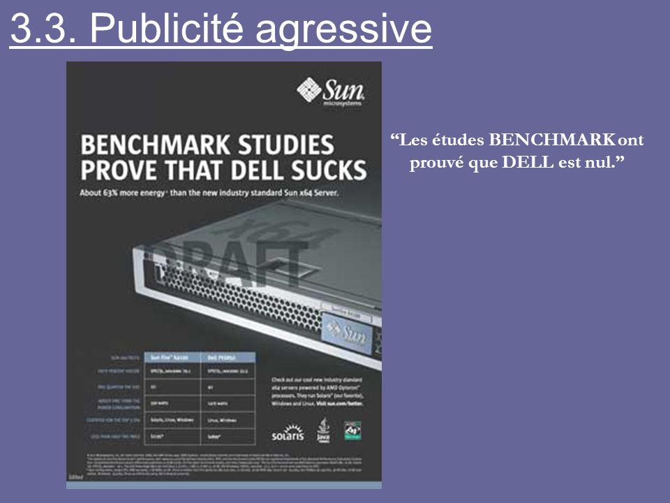 Les études BENCHMARK ont prouvé que DELL est nul. 3.3. Publicité agressive
