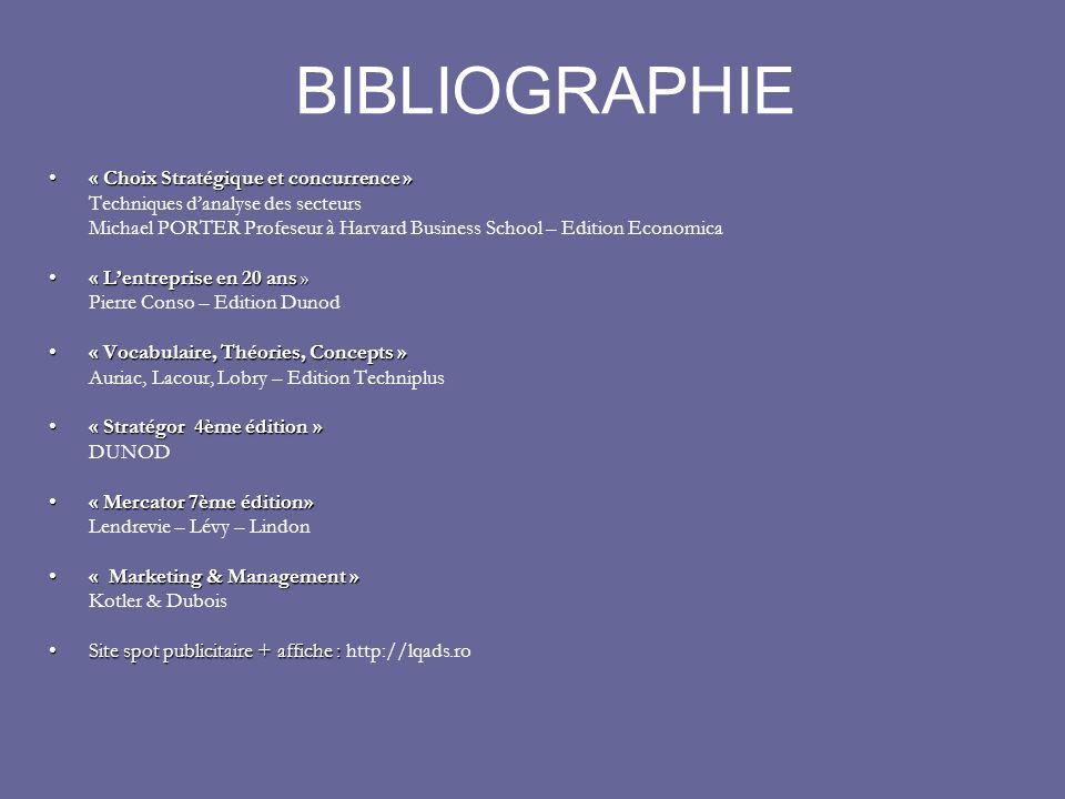 BIBLIOGRAPHIE « Choix Stratégique et concurrence »« Choix Stratégique et concurrence » Techniques danalyse des secteurs Michael PORTER Profeseur à Har