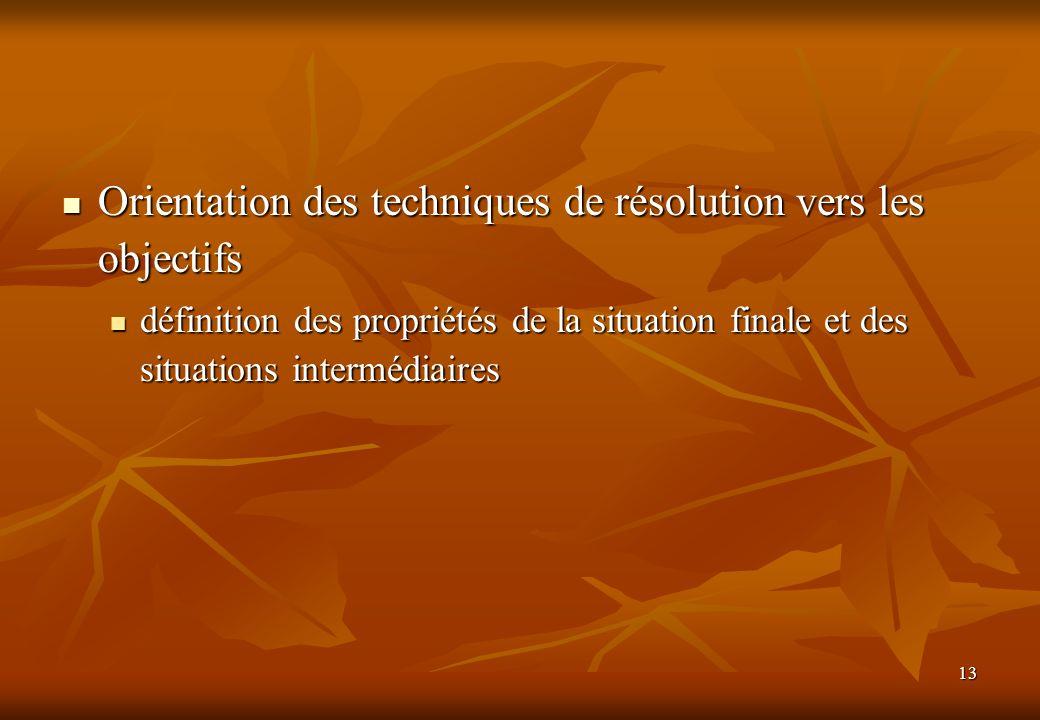 13 Orientation des techniques de résolution vers les objectifs Orientation des techniques de résolution vers les objectifs définition des propriétés de la situation finale et des situations intermédiaires définition des propriétés de la situation finale et des situations intermédiaires
