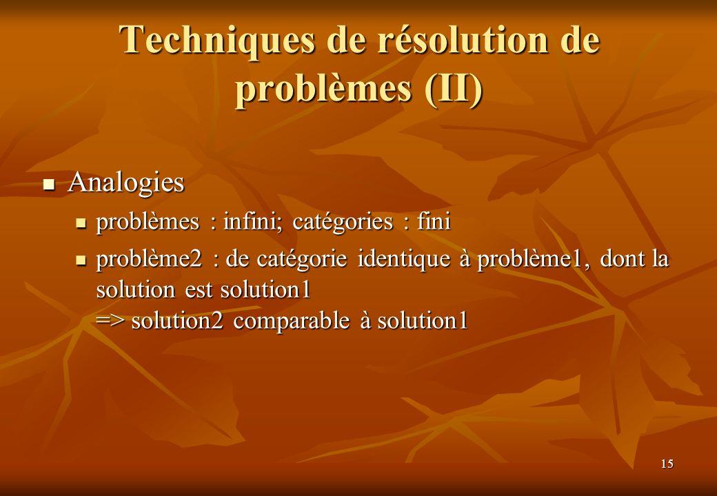 15 Techniques de résolution de problèmes (II) Analogies Analogies problèmes : infini; catégories : fini problèmes : infini; catégories : fini problème2 : de catégorie identique à problème1, dont la solution est solution1 => solution2 comparable à solution1 problème2 : de catégorie identique à problème1, dont la solution est solution1 => solution2 comparable à solution1