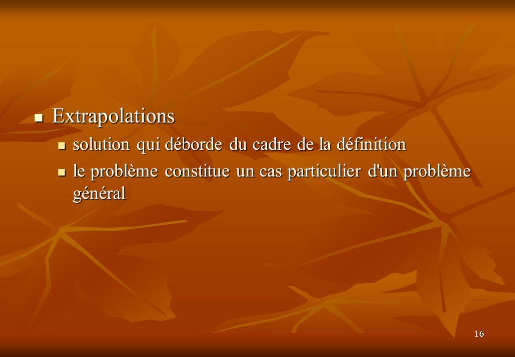 16 Extrapolations Extrapolations solution qui déborde du cadre de la définition solution qui déborde du cadre de la définition le problème constitue u