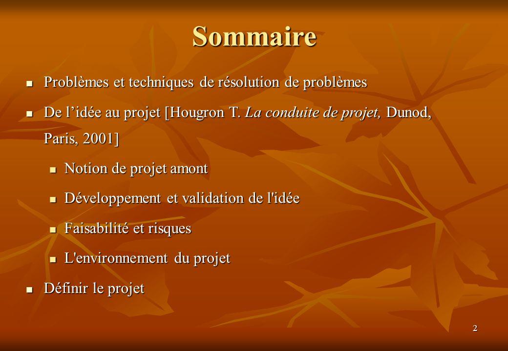 2 Sommaire Problèmes et techniques de résolution de problèmes Problèmes et techniques de résolution de problèmes De lidée au projet [Hougron T.