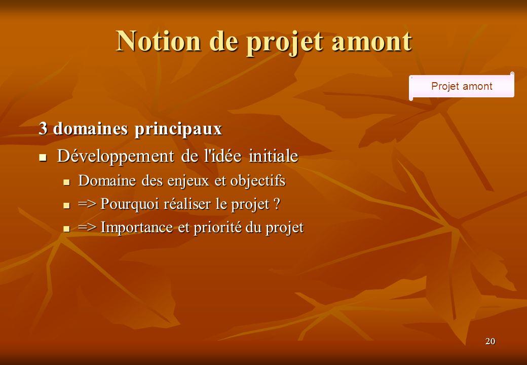 20 Notion de projet amont Projet amont 3 domaines principaux Développement de l idée initiale Développement de l idée initiale Domaine des enjeux et objectifs Domaine des enjeux et objectifs => Pourquoi réaliser le projet .