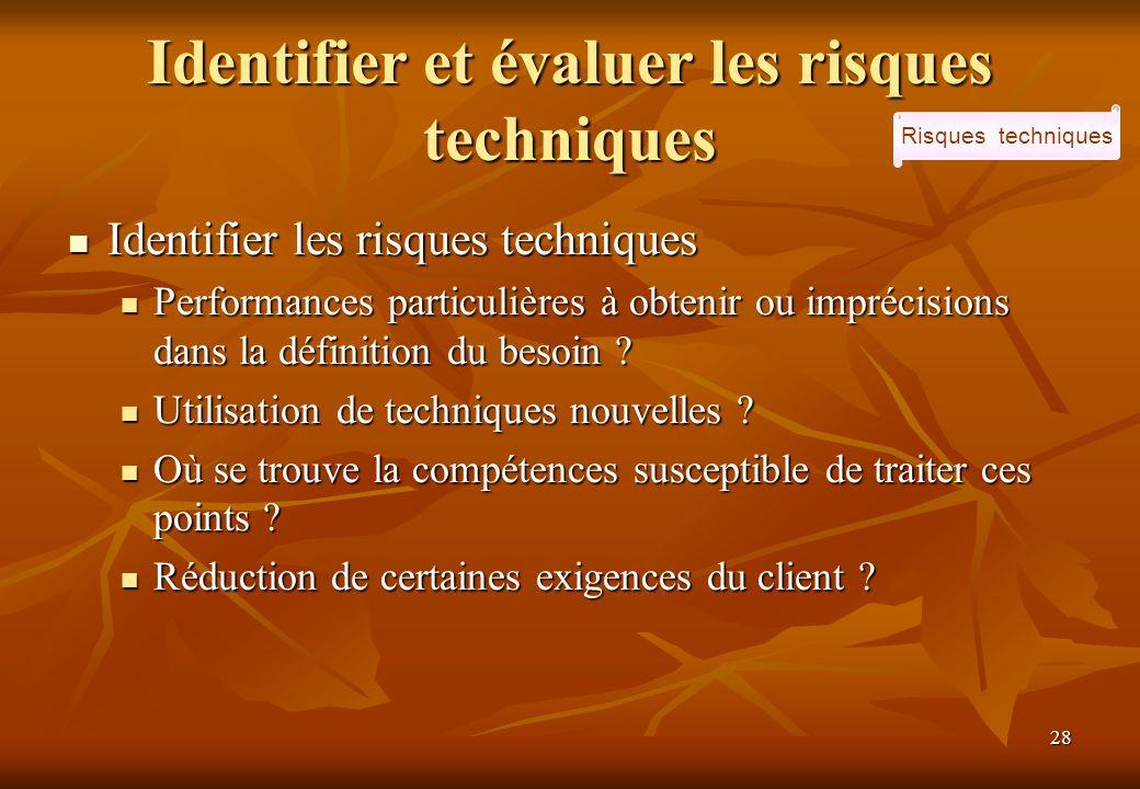 28 Identifier et évaluer les risques techniques Identifier les risques techniques Identifier les risques techniques Performances particulières à obten