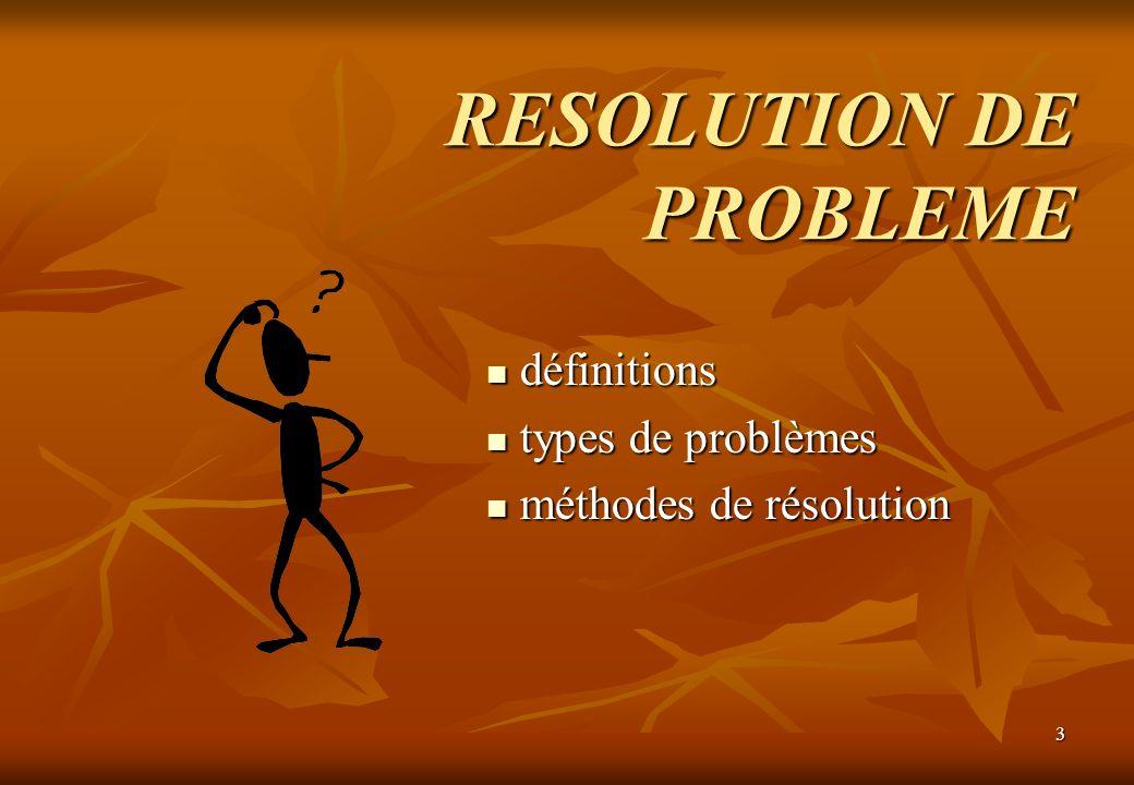 3 RESOLUTION DE PROBLEME définitions définitions types de problèmes types de problèmes méthodes de résolution méthodes de résolution