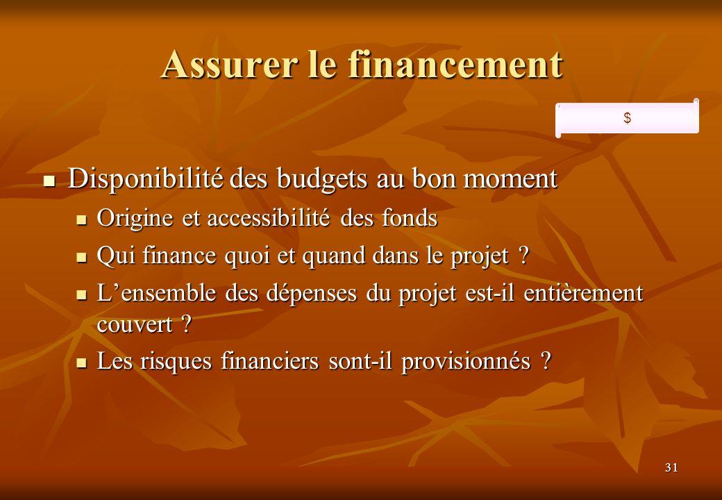 31 Assurer le financement Disponibilité des budgets au bon moment Disponibilité des budgets au bon moment Origine et accessibilité des fonds Origine et accessibilité des fonds Qui finance quoi et quand dans le projet .