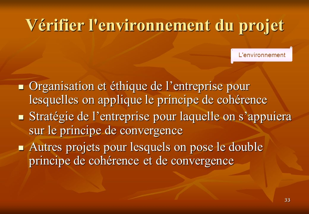 33 Vérifier l environnement du projet L environnement Organisation et éthique de lentreprise pour lesquelles on applique le principe de cohérence Organisation et éthique de lentreprise pour lesquelles on applique le principe de cohérence Stratégie de lentreprise pour laquelle on sappuiera sur le principe de convergence Stratégie de lentreprise pour laquelle on sappuiera sur le principe de convergence Autres projets pour lesquels on pose le double principe de cohérence et de convergence Autres projets pour lesquels on pose le double principe de cohérence et de convergence
