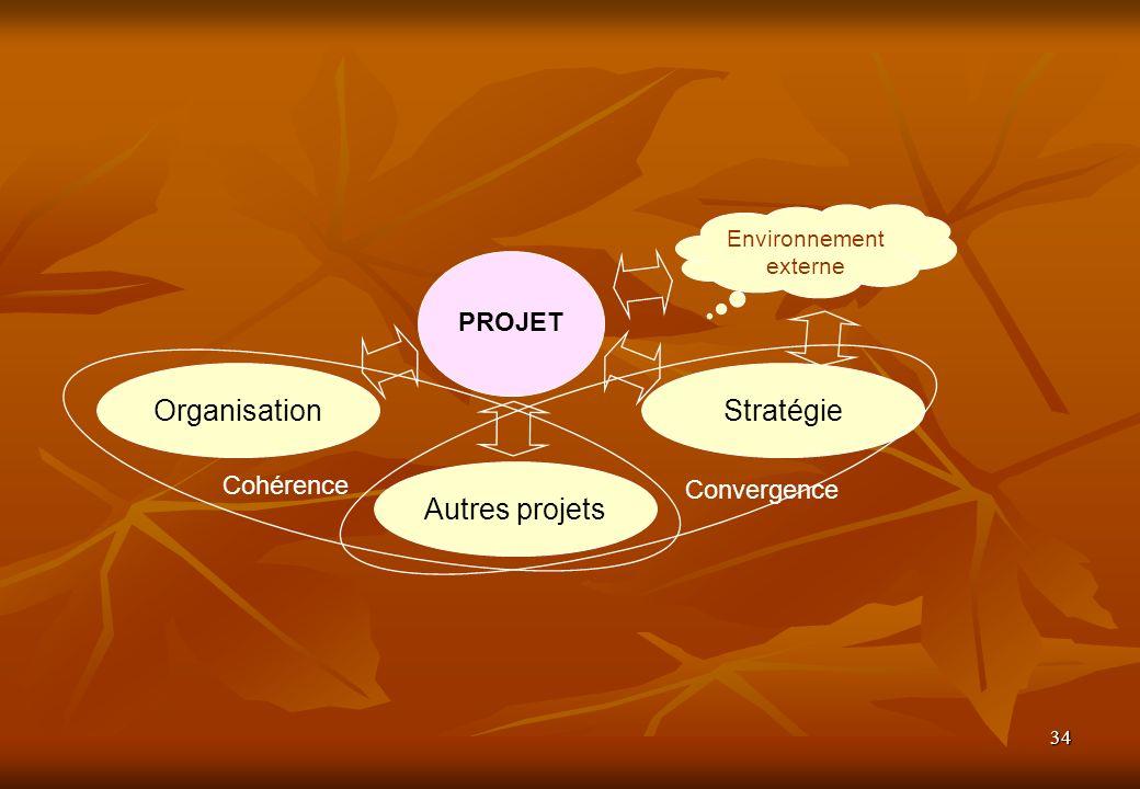 34 Autres projets OrganisationStratégie PROJET Convergence Cohérence Environnement externe