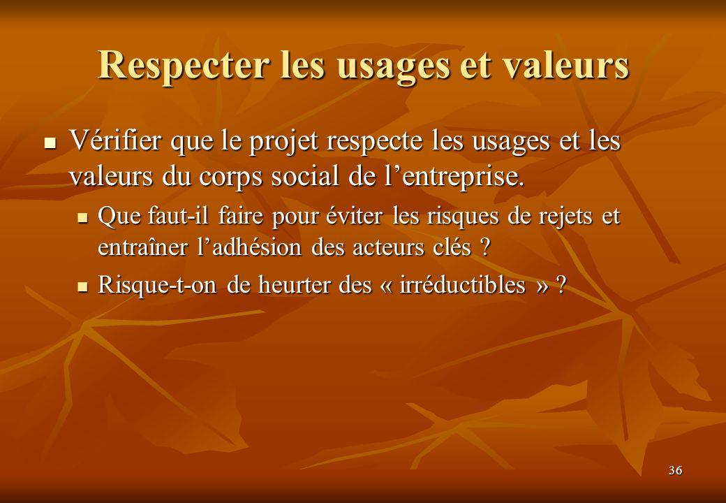 36 Respecter les usages et valeurs Vérifier que le projet respecte les usages et les valeurs du corps social de lentreprise. Vérifier que le projet re