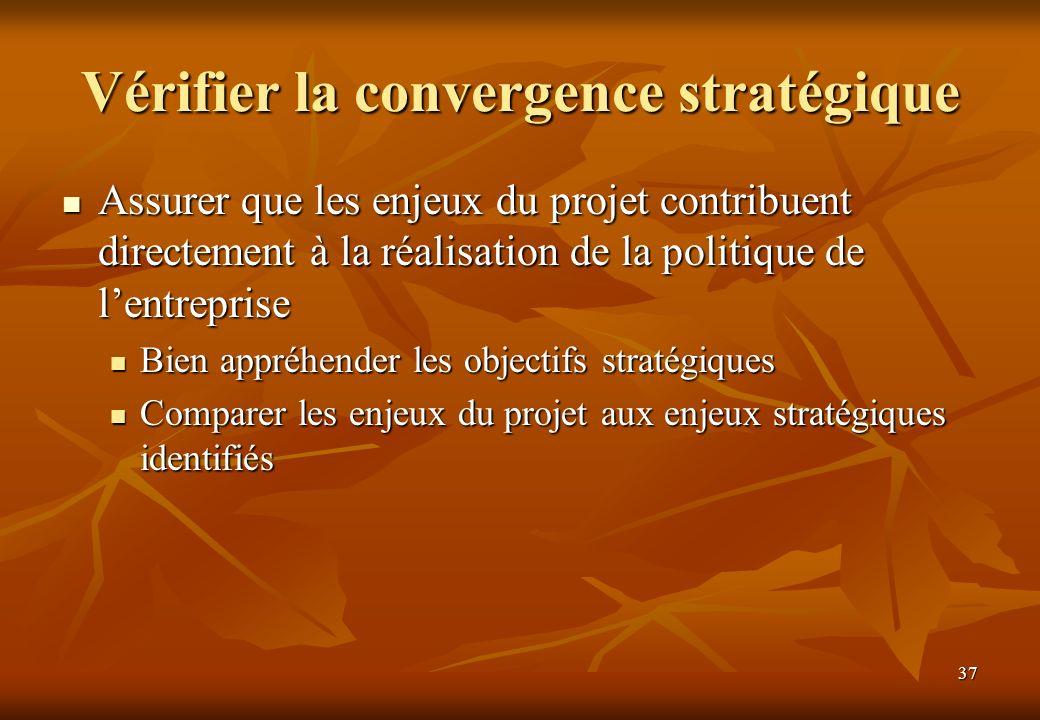 37 Vérifier la convergence stratégique Assurer que les enjeux du projet contribuent directement à la réalisation de la politique de lentreprise Assurer que les enjeux du projet contribuent directement à la réalisation de la politique de lentreprise Bien appréhender les objectifs stratégiques Bien appréhender les objectifs stratégiques Comparer les enjeux du projet aux enjeux stratégiques identifiés Comparer les enjeux du projet aux enjeux stratégiques identifiés