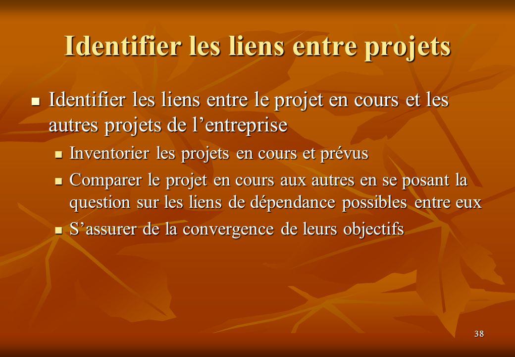 38 Identifier les liens entre projets Identifier les liens entre le projet en cours et les autres projets de lentreprise Identifier les liens entre le