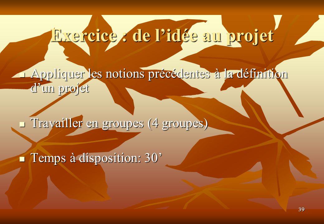 39 Exercice : de lidée au projet Appliquer les notions précédentes à la définition dun projet Appliquer les notions précédentes à la définition dun pr