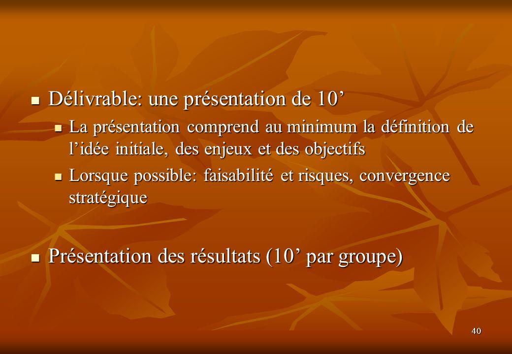 40 Délivrable: une présentation de 10 Délivrable: une présentation de 10 La présentation comprend au minimum la définition de lidée initiale, des enje