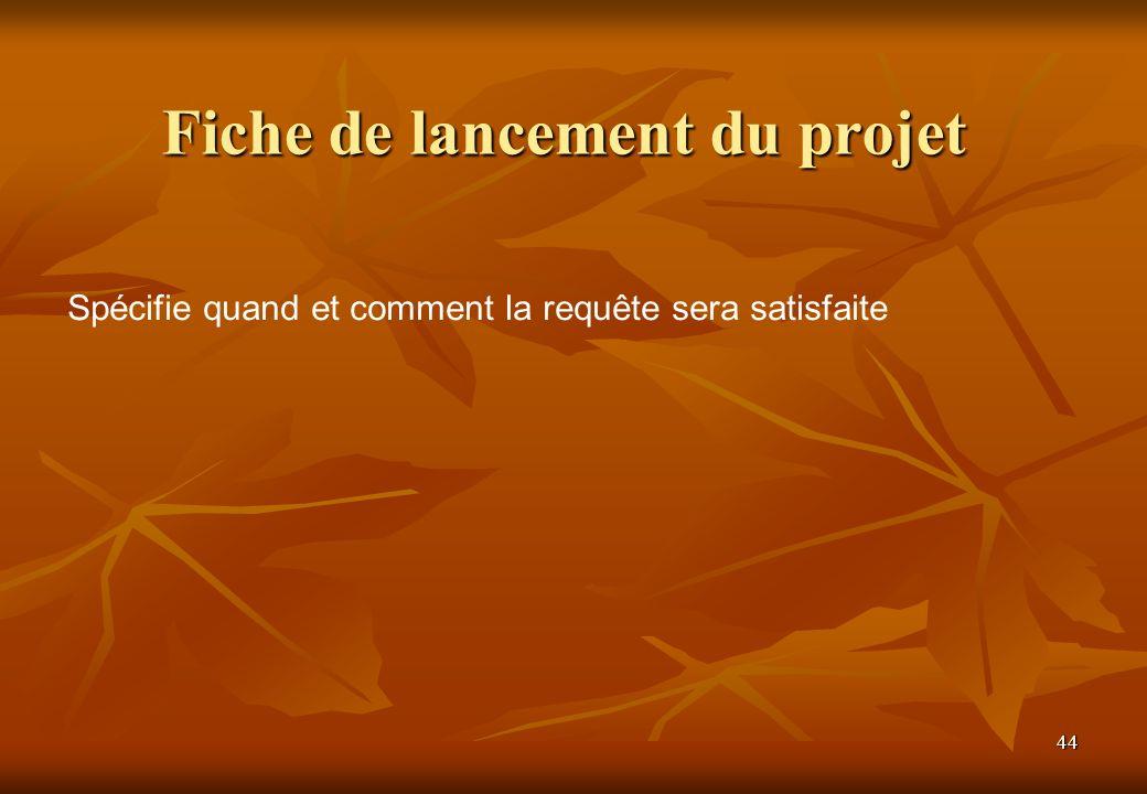 44 Fiche de lancement du projet Spécifie quand et comment la requête sera satisfaite