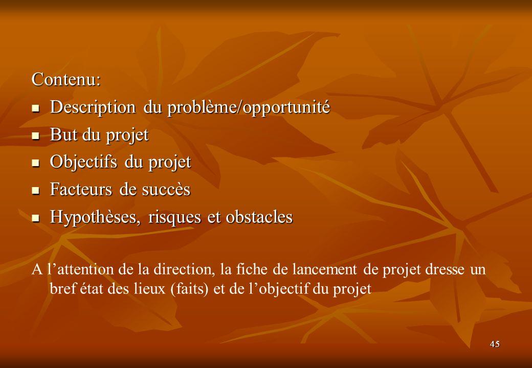 45 Contenu: Description du problème/opportunité Description du problème/opportunité But du projet But du projet Objectifs du projet Objectifs du proje