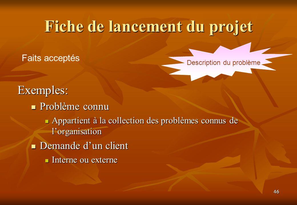 46 Fiche de lancement du projet Exemples: Problème connu Problème connu Appartient à la collection des problèmes connus de lorganisation Appartient à