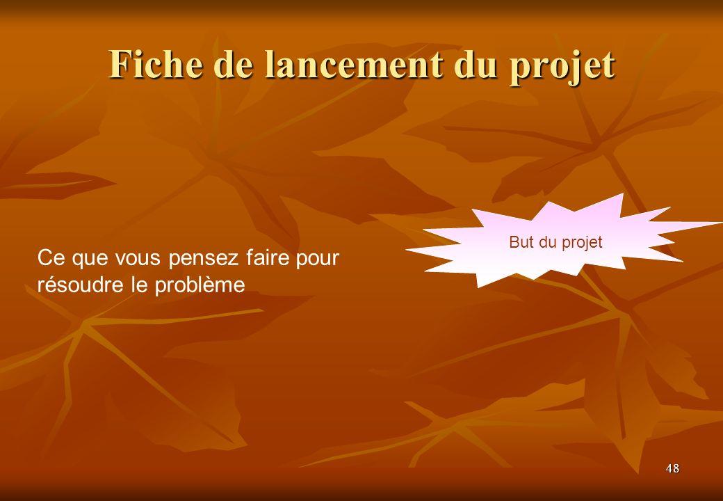 48 Fiche de lancement du projet But du projet Ce que vous pensez faire pour résoudre le problème