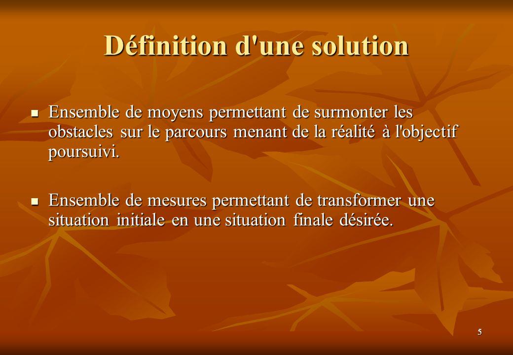 5 Définition d'une solution Ensemble de moyens permettant de surmonter les obstacles sur le parcours menant de la réalité à l'objectif poursuivi. Ense