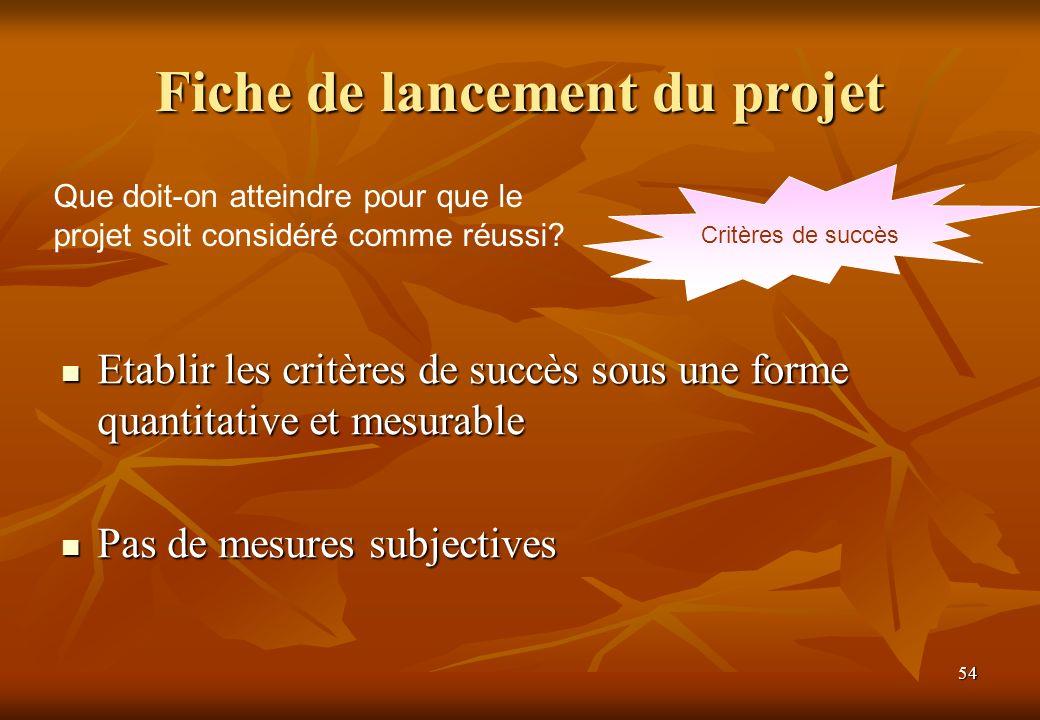 54 Fiche de lancement du projet Critères de succès Que doit-on atteindre pour que le projet soit considéré comme réussi? Etablir les critères de succè