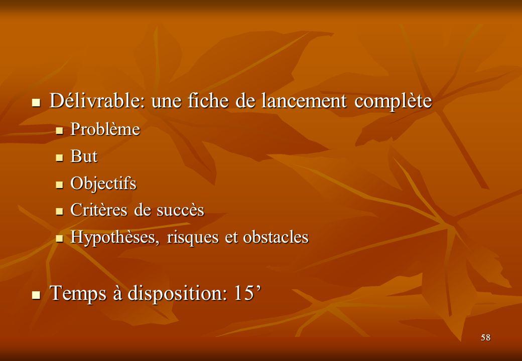 58 Délivrable: une fiche de lancement complète Délivrable: une fiche de lancement complète Problème Problème But But Objectifs Objectifs Critères de s