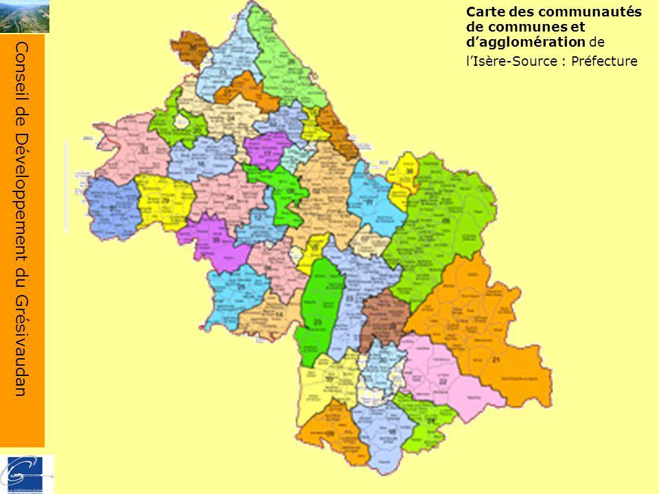 Conseil de Développement du Grésivaudan Carte des communautés de communes et dagglomération de lIsère-Source : Préfecture