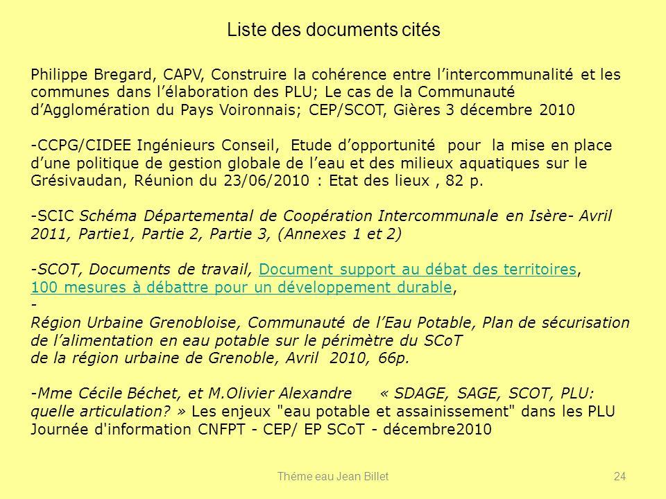 Liste des documents cités Philippe Bregard, CAPV, Construire la cohérence entre lintercommunalité et les communes dans lélaboration des PLU; Le cas de