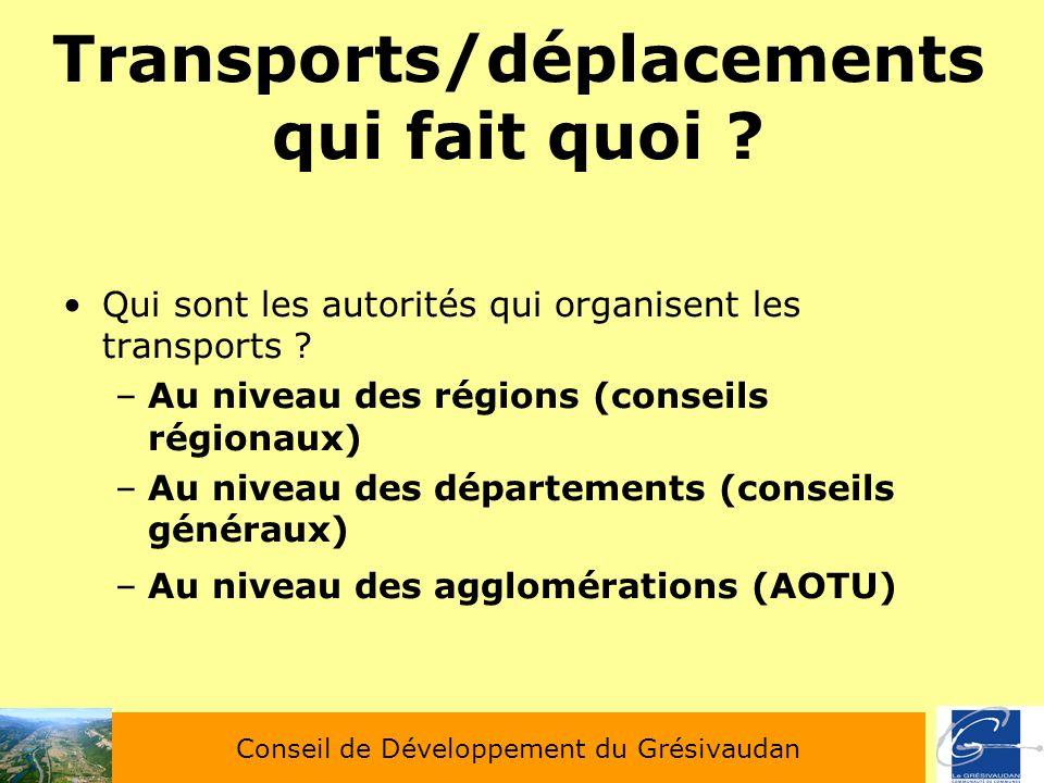 Transports/déplacements qui fait quoi ? Qui sont les autorités qui organisent les transports ? –Au niveau des régions (conseils régionaux) –Au niveau