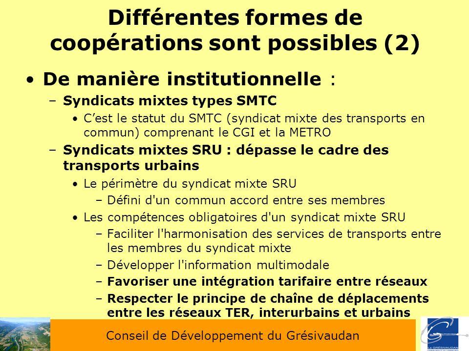 Différentes formes de coopérations sont possibles (2) De manière institutionnelle : –Syndicats mixtes types SMTC Cest le statut du SMTC (syndicat mixt