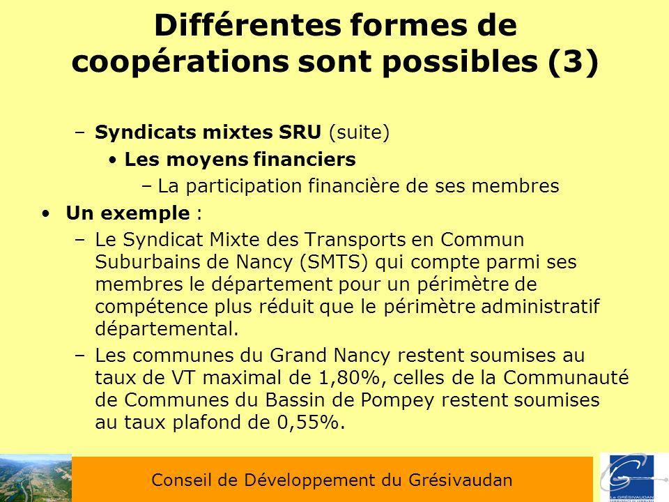 Différentes formes de coopérations sont possibles (3) –Syndicats mixtes SRU (suite) Les moyens financiers –La participation financière de ses membres