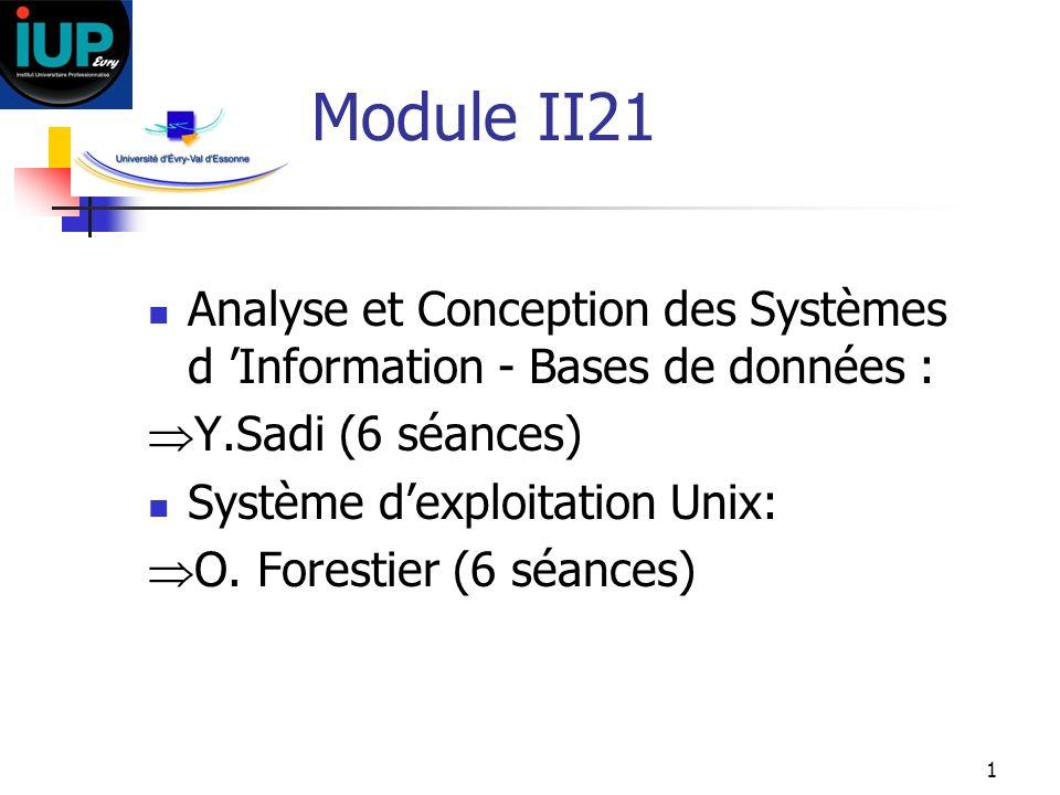 1 Module II21 Analyse et Conception des Systèmes d Information - Bases de données : Y.Sadi (6 séances) Système dexploitation Unix: O. Forestier (6 séa