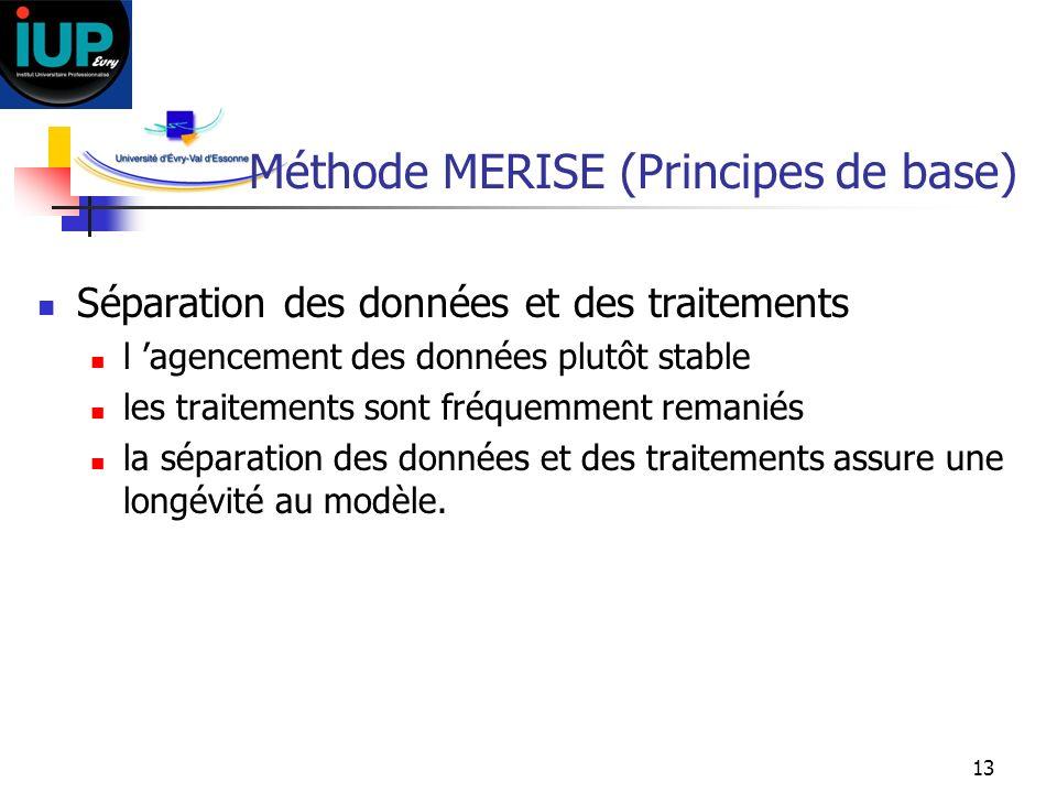 13 Méthode MERISE (Principes de base) Séparation des données et des traitements l agencement des données plutôt stable les traitements sont fréquemmen