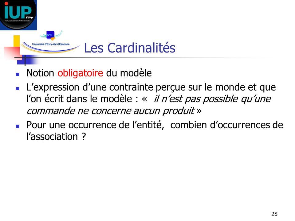 28 Les Cardinalités Notion obligatoire du modèle Lexpression dune contrainte perçue sur le monde et que lon écrit dans le modèle : « il nest pas possi