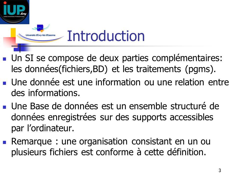 3 Introduction Un SI se compose de deux parties complémentaires: les données(fichiers,BD) et les traitements (pgms). Une donnée est une information ou