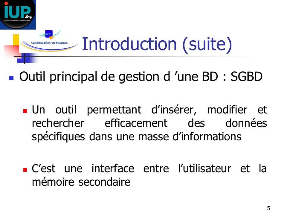 5 Introduction (suite) Outil principal de gestion d une BD : SGBD Un outil permettant dinsérer, modifier et rechercher efficacement des données spécif