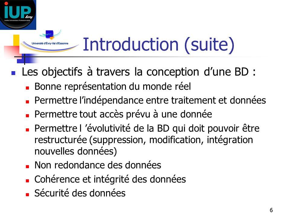 6 Introduction (suite) Les objectifs à travers la conception dune BD : Bonne représentation du monde réel Permettre lindépendance entre traitement et
