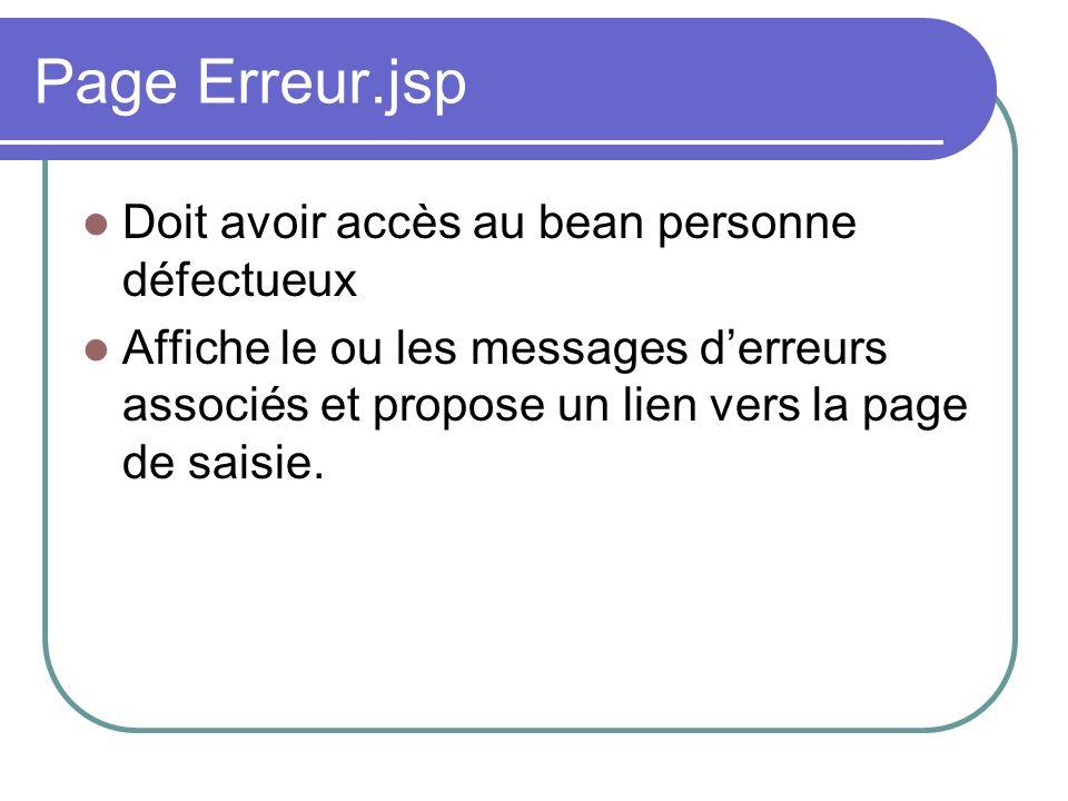 Page Erreur.jsp Doit avoir accès au bean personne défectueux Affiche le ou les messages derreurs associés et propose un lien vers la page de saisie.