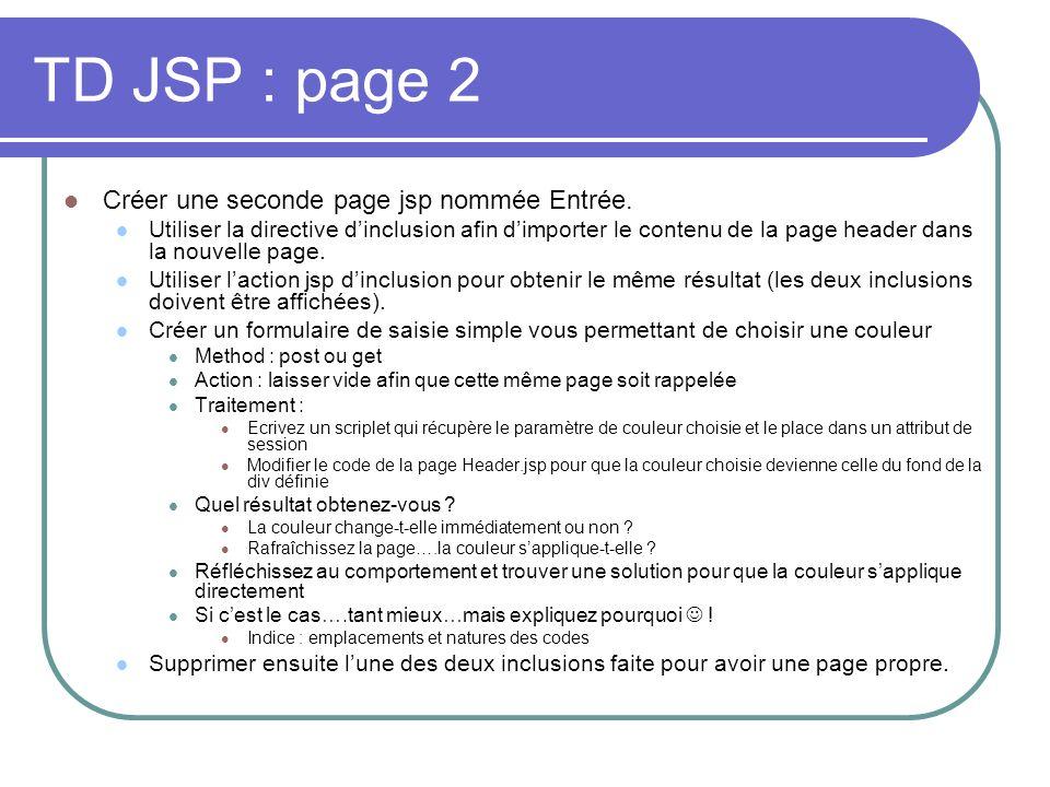 TD JSP : page 2 Créer une seconde page jsp nommée Entrée. Utiliser la directive dinclusion afin dimporter le contenu de la page header dans la nouvell
