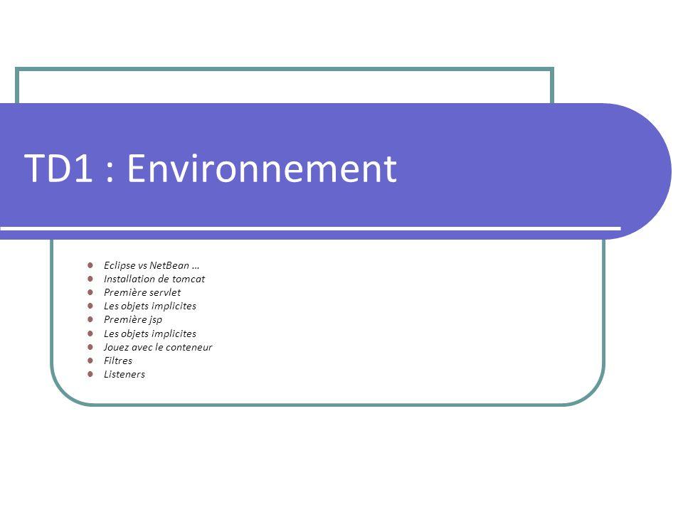 Rappel des bases Servlet : classe java dérivée de HttpServlet Méthodes : Init() Destroy() Service(request, response) Objets implicites Session Config Configuration dans web.xml Tomcat Serveur web et conteneur de servlet Utilise le fichier web.xml de lapplication web pour donner laccès aux servlet Possède une configuration propre prédéfinie et modifiable par ses fichiers web.xml, server.xml, context.xml NetBean Projet application web Environnement de développement Contrôle le serveur tomcat pour faciliter la mise en place des servlets Génère les fichiers de configuration automatiquement avec des valeurs par défaut Tout les objets de base se créent simplement par click droit dans larborescence des répertoires de lapplication, puis NEW : Servlets, JSP, Listeners, Filters …etc.