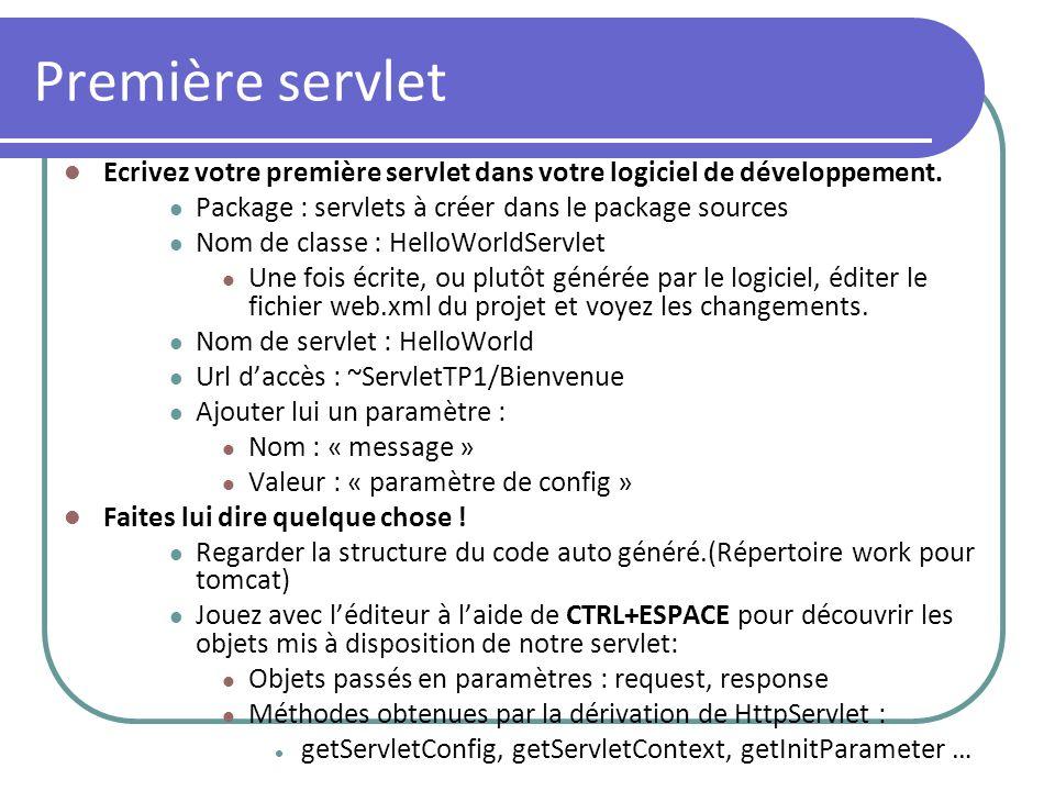 Première servlet Ecrivez votre première servlet dans votre logiciel de développement. Package : servlets à créer dans le package sources Nom de classe