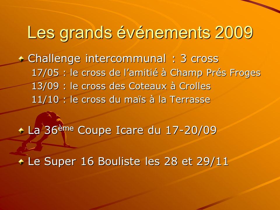 Les grands événements 2009 Challenge intercommunal : 3 cross 17/05 : le cross de lamitié à Champ Prés Froges 13/09 : le cross des Coteaux à Crolles 11